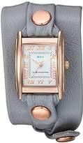 La Mer Women's Quartz Metal and Leather Casual Watch, Color:Grey (Model: LMSTW3003)