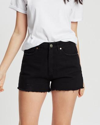 DRICOPER DENIM - Women's Black Denim - Tatiana High-Waisted Shorts - Size One Size, 7 at The Iconic