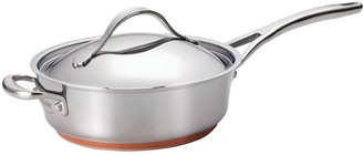 Anolon Nouvelle Copper Stainless Steel 3-qt. Saute Pan with Helper Handle