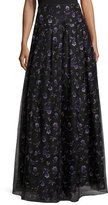 Sachin + Babi Violet-Print Organza Ball Skirt, Black/Purple