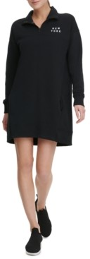 DKNY Sport Half-Zip Logo Dress