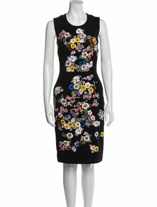 Preen by Thornton Bregazzi Floral Print Knee-Length Dress Black