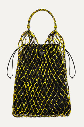 Prada String Large Leather-trimmed Printed Nylon Macrame Tote - Yellow