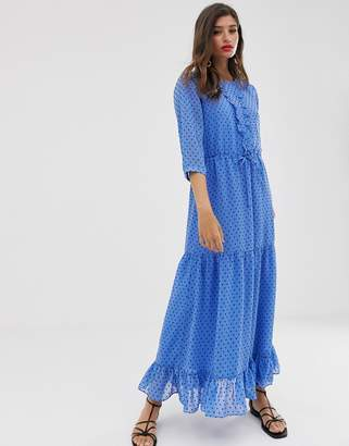 Vila textured chiffon maxi dress-Blue