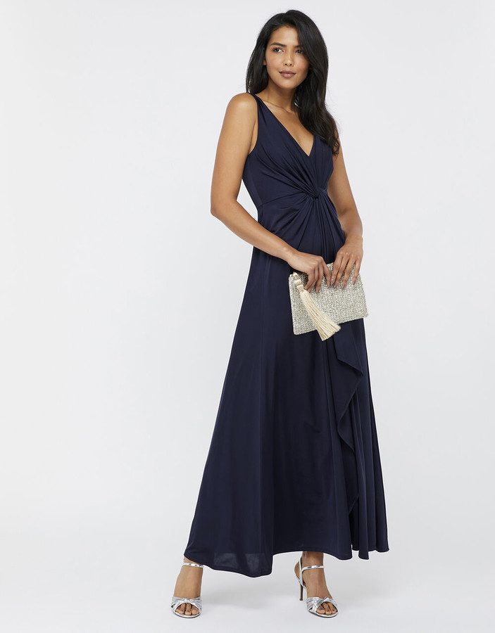 Monsoon Jessie Jersey Twist V Neck Maxi Dress Blue