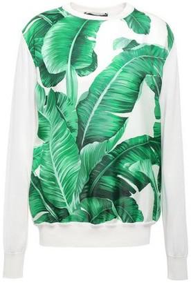 Dolce & Gabbana Printed Paneled Silk-twill Sweater