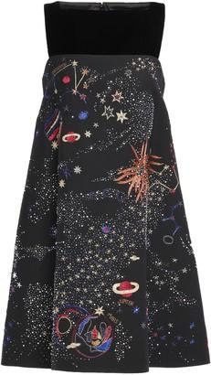 Valentino Velvet-paneled Embellished Wool And Silk-blend Mini Dress