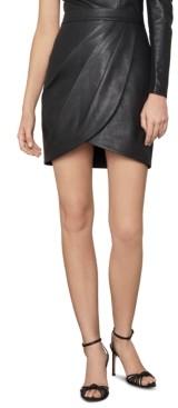 BCBGMAXAZRIA Faux-Leather Tulip Mini Skirt