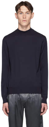 Brioni Navy Mock Neck Sweater