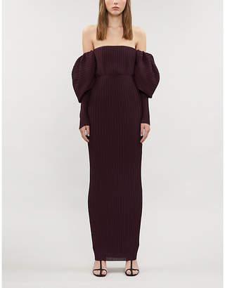 SOLACE London Tasmin off-the-shoulder puffed-sleeve pleated maxi dress