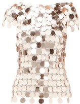 Paco Rabanne Sequinned Chainmail Top - Womens - Rose Gold