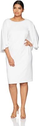 Calvin Klein Women's Plus Size Solid Embellished Caplet Dress