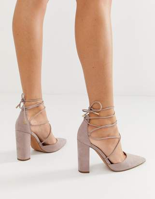Asos Design DESIGN Power Trip high block heels in taupe-Grey