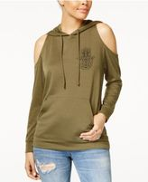 Rebellious One Juniors' Graphic Cold-Shoulder Hoodie