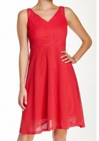 London Times T1277M V-Neck Eyelet Lace A-Line Dress
