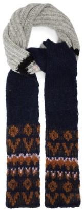 Raf Simons Fair Isle Striped Slim Alpaca-blend Scarf - Grey Multi