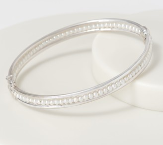 Honora Sterling Silver Round Cultured Pearl Hinged Bangle