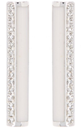 Ef Collection 14K White Gold Pave Diamond & Enamel Bar Stud Earrings - 0.09 ctw