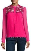 Elie Tahari Luna Silk Blouse w/ Floral Appliqué, Pink