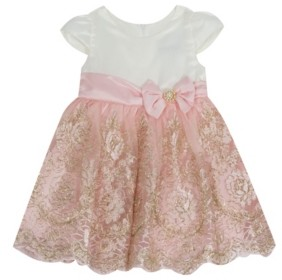 Rare Editions Baby Girls Satin Cap Sleeve Bodice To Cord Embroidered Skirt