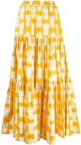 La DoubleJ pineapple print tiered skirt
