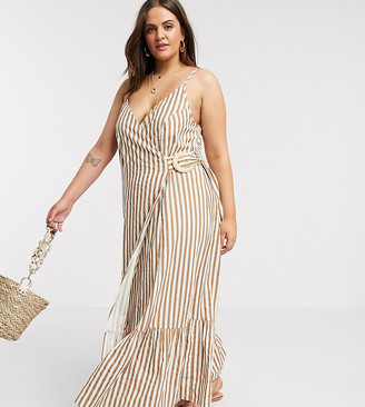 ASOS DESIGN Curve cami wrap maxi dress in linen with wicker belt in stripe