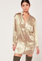 Missguided Hammered Satin Shirt Dress