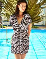 MG Collection Zebra Silky Fashion Swimsuit Cover-Up / Weightless Beach Dress