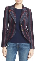 Smythe Women's Hunting Leather Trim Stripe Blazer