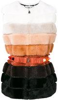 Fendi fur belted gilet - women - Calf Leather/Lamb Skin/Mink Fur - 42