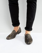 Asos Loafers In Navy Paisley Pattern