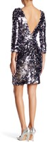 Minuet 3/4 Sleeve Sequin Body Con Dress