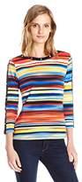 Rafaella Women's Petite Size Soft Vacation Stripe Printed Cotton Top