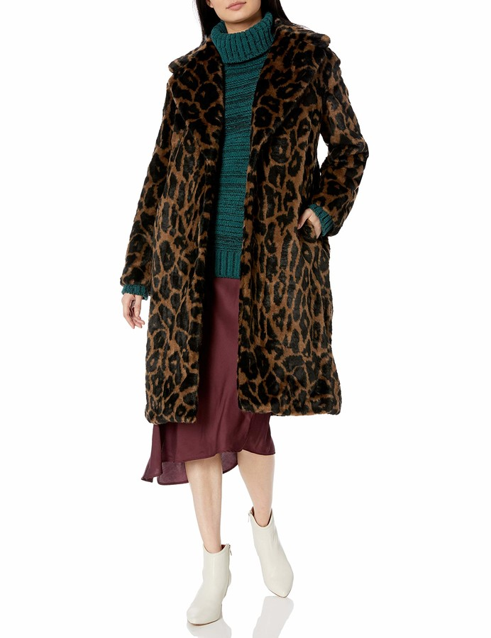 City Chic Womens Apparel Womens Plus Size Longline Structured Coat with Faux Fur Detail