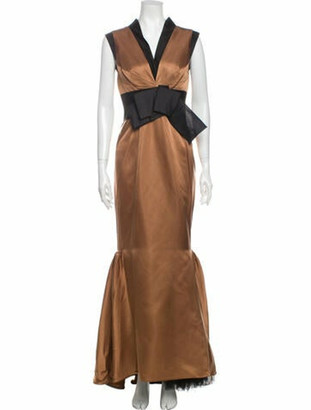 J. Mendel V-Neck Long Dress Brown