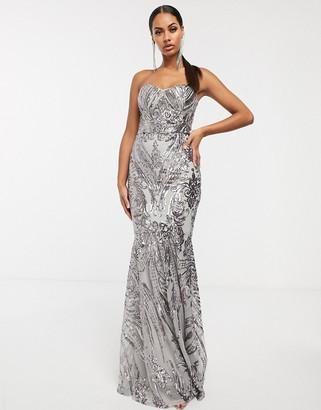 Club L London baroque bandeau sequin maxi dress