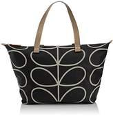 Orla Kiely Womens Linear Stem Print Zip Shopper Liqourice