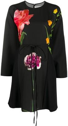 Valentino Floral-Print Long-Sleeve Dress