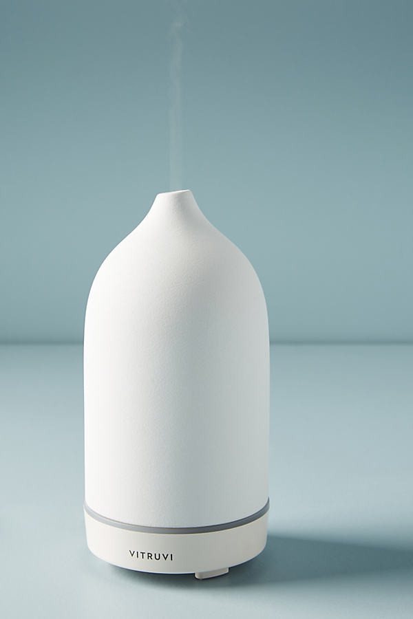 Vitruvi White Stone Essential Oil Diffuser By Vitruvi in White Size ALL