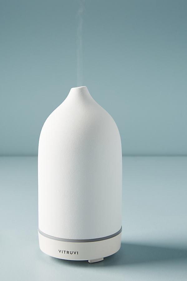 Vitruvi White Stone Essential Oil Diffuser By Vitruvi in White
