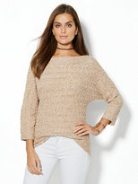 New York & Co. Bateau-Neck Cable-Knit Sweater - Marled