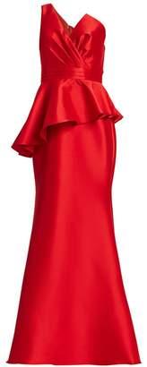 Badgley Mischka Asymmetric Drape Stretch Mikado Mermaid Gown