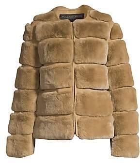 Pologeorgis Women's Horizontal Rabbit Fur Jacket