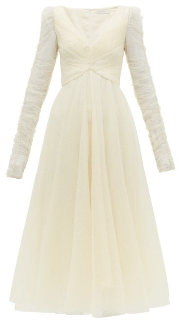 Zimmermann Espionage Flocked Polka Dot Tulle Dress - Womens - Cream