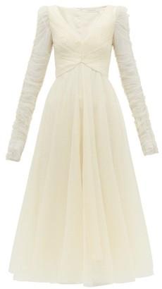 Zimmermann Espionage Flocked Polka Dot Tulle Dress - Womens - Cream