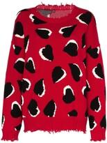 R 13 heart motif oversized jumper