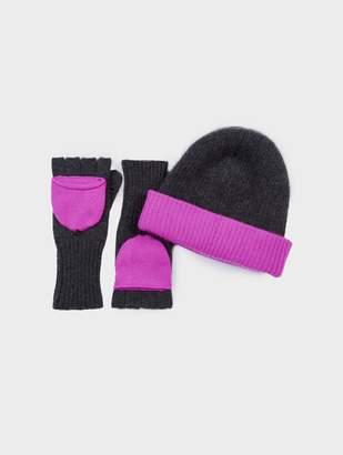 White + Warren Pop-of-Color Cashmere Beanie + Glove Bundle