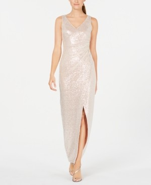 Calvin Klein Ruched Sequin Gown