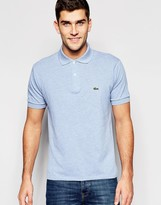 Lacoste Polo Shirt With Croc Logo In Classic Regular Fit In Blue Marl