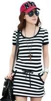 V28® V28 Women Black White Blue Striped Drawstring Mini Tee Dress